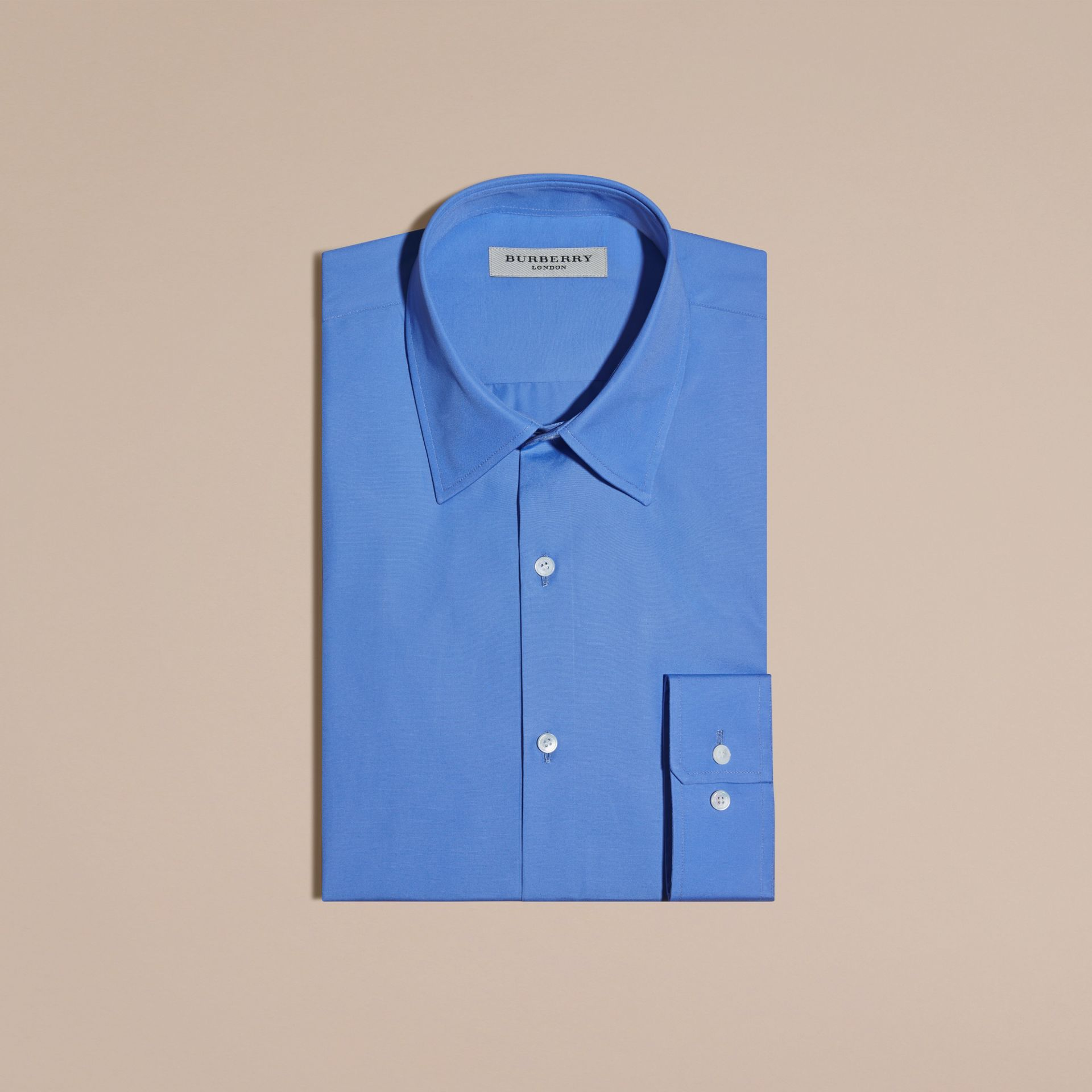 Slim Fit Cotton Poplin Shirt in Mid Blue - gallery image 4