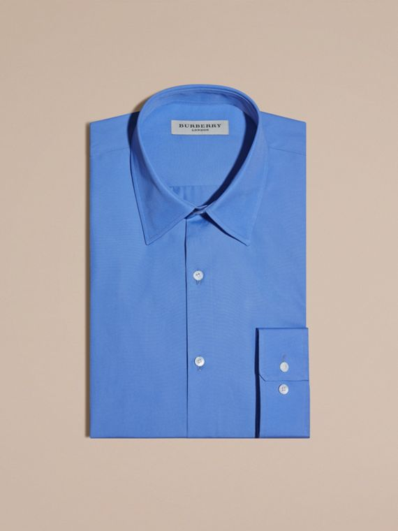 Slim Fit Cotton Poplin Shirt in Mid Blue - cell image 3