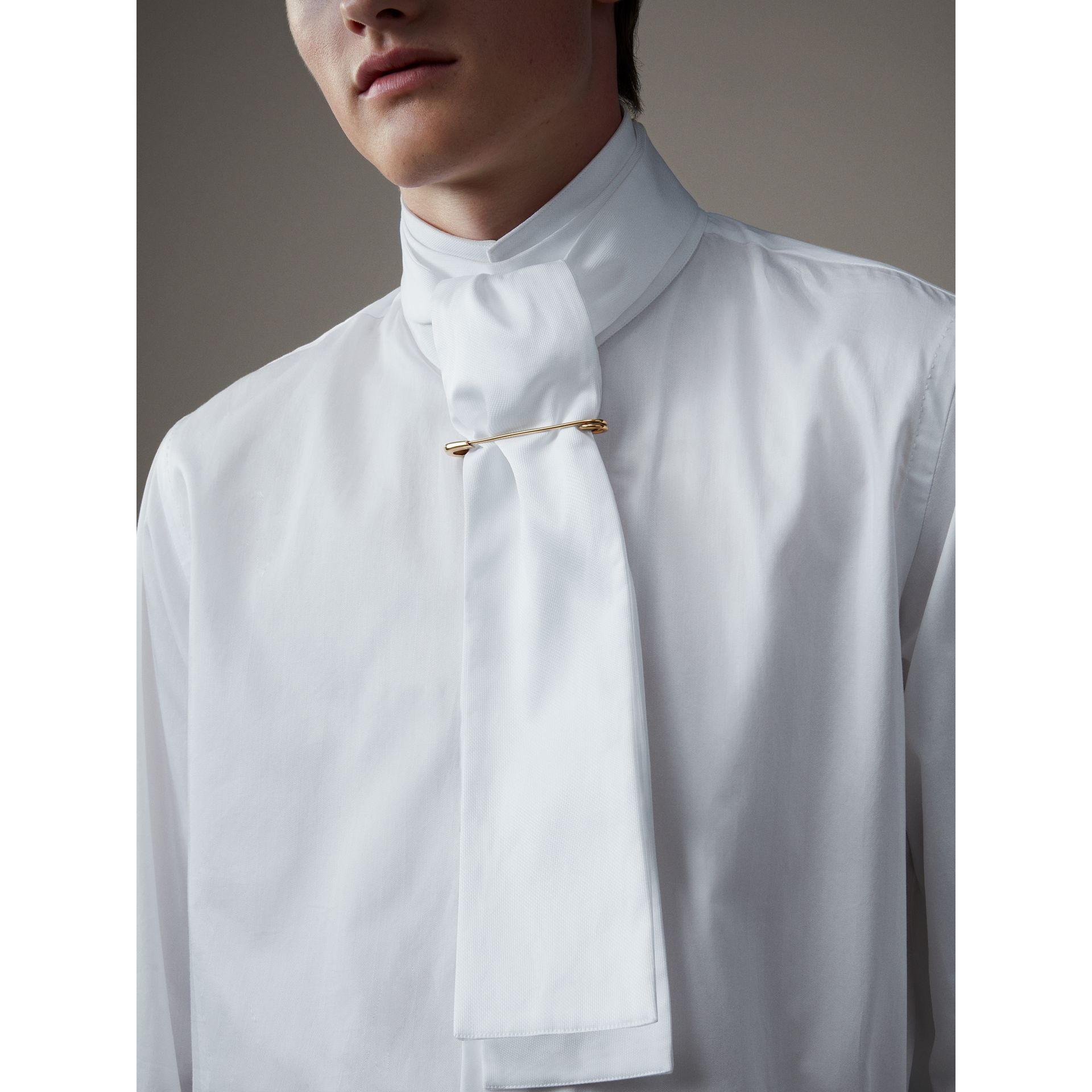 Herringbone Cotton Tie-neck Riding Shirt in White - Men | Burberry - gallery image 1
