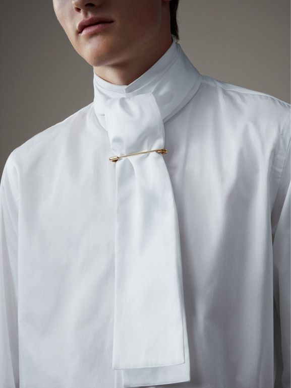 Herringbone Cotton Tie-neck Riding Shirt in White - Men | Burberry - cell image 1