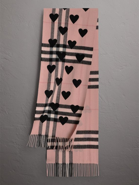 The Classic Cashmere Scarf in Check and Hearts in Ash Rose/black