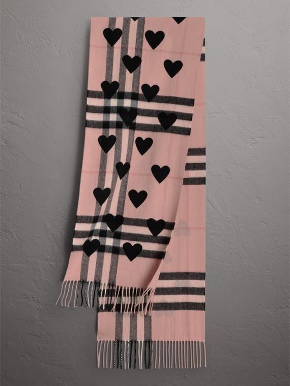 Écharpe classique en cachemire à motif check avec cœurs (Rose Cendré/noir)