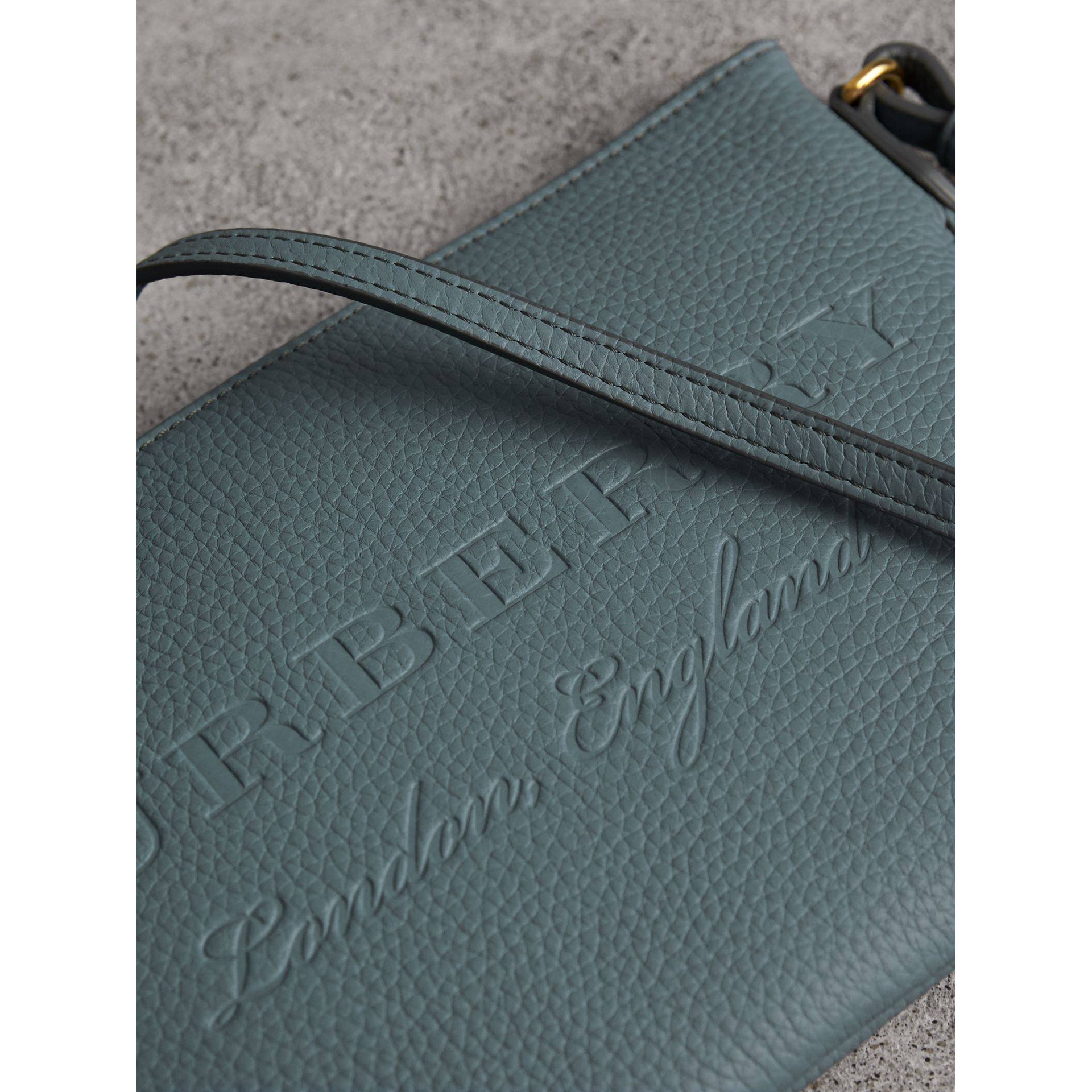 Embossed Leather Clutch Bag in Dusty Teal Blue - Women | Burberry United Kingdom - gallery image 2