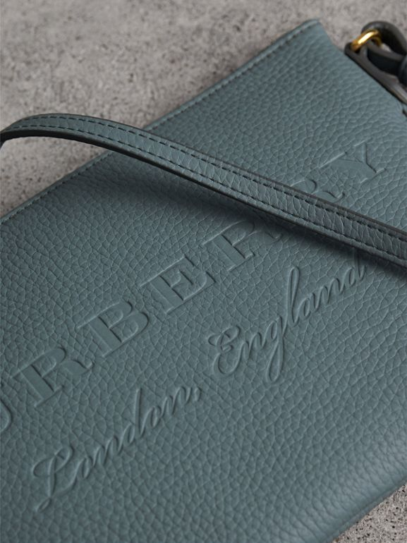 Embossed Leather Clutch Bag in Dusty Teal Blue - Women | Burberry United Kingdom - cell image 1