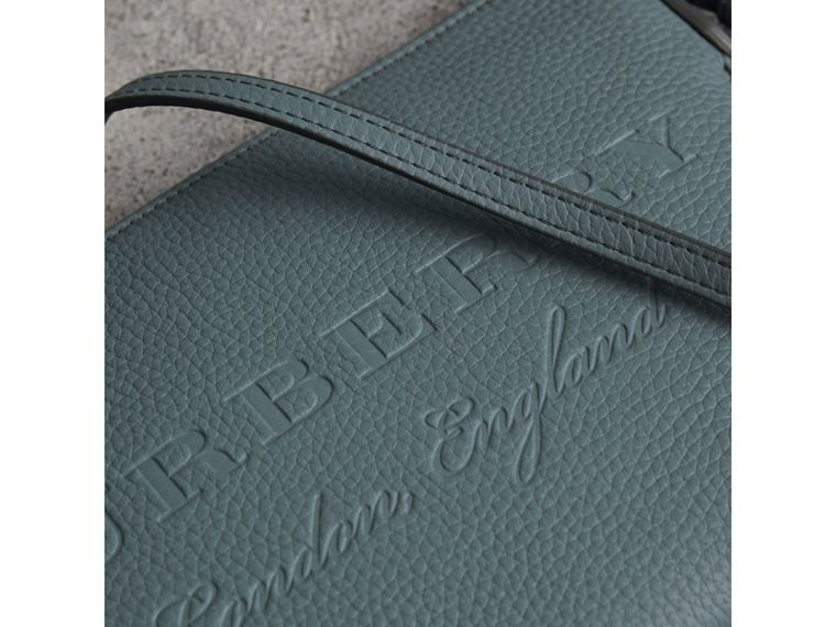 Embossed Leather Clutch Bag in Dusty Teal Blue - Women | Burberry United States - cell image 1