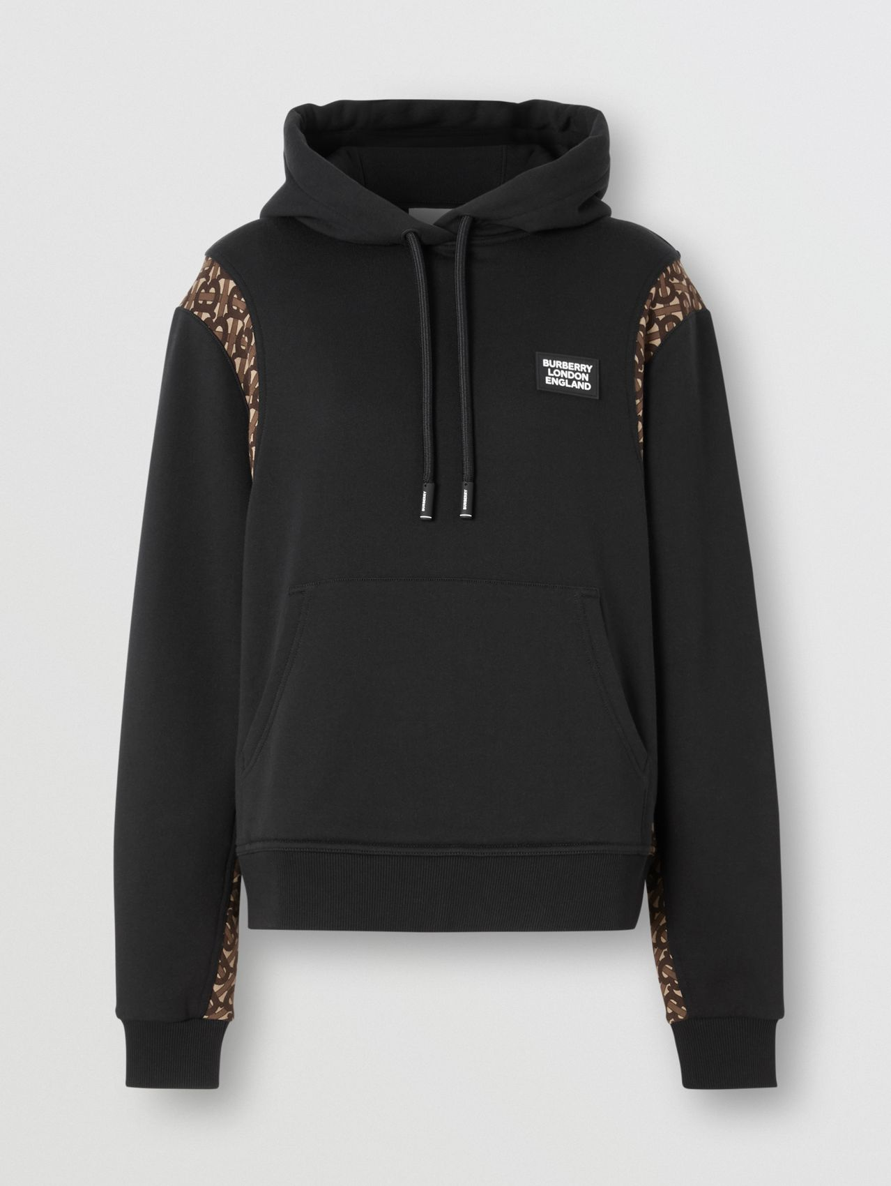 Monogram Print Panel Cotton Oversized Hoodie (Black)