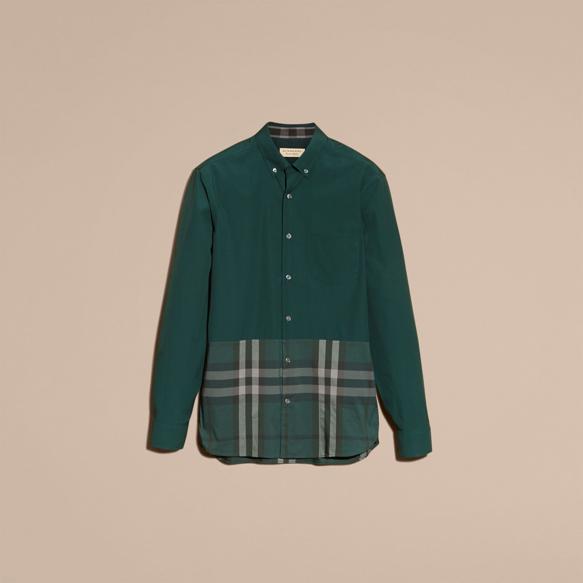 Racing green Check Panel Stretch-Cotton Poplin Shirt Racing Green - gallery image 4