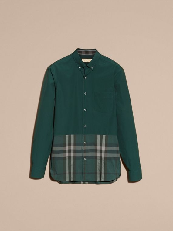 Racing green Check Panel Stretch-Cotton Poplin Shirt Racing Green - cell image 3