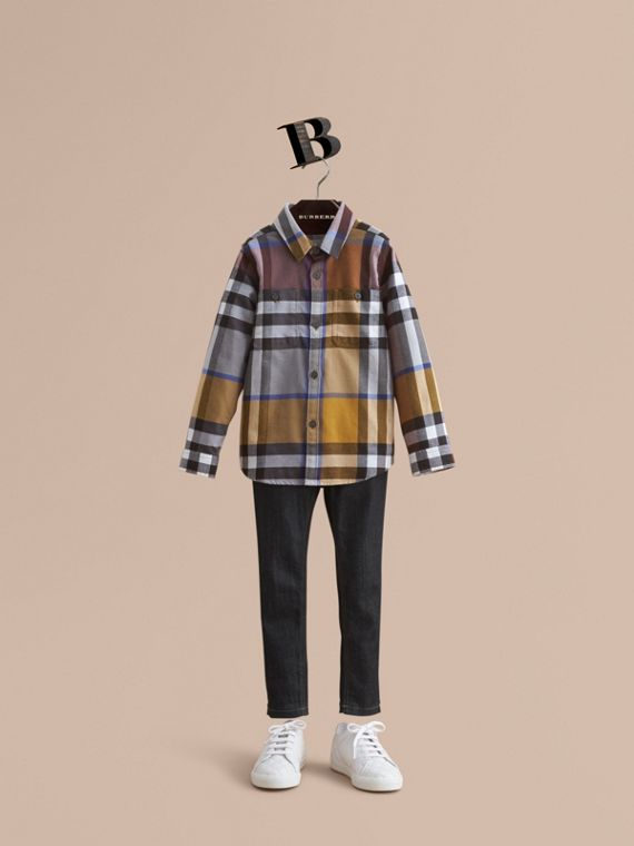 Pocket Detail Check Flannel Shirt in Ochre Yellow - Boy | Burberry
