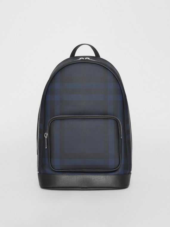 London Check and Leather Backpack in Navy/black