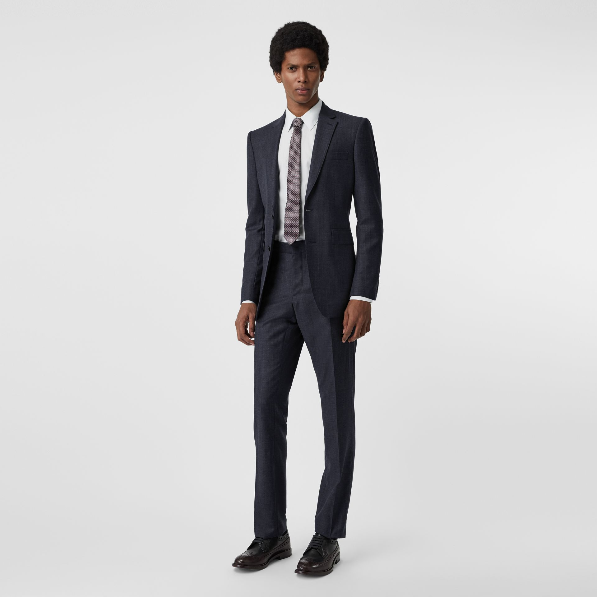 Classic Fit Check Wool Three-piece Suit in Steel Blue - Men | Burberry - gallery image 0