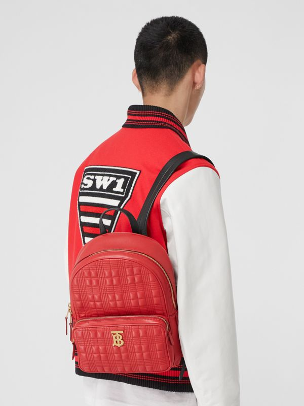 Quilted Lambskin Backpack in Bright Red | Burberry - cell image 3