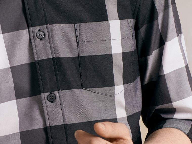 Nero Camicia in cotone con motivo check Nero - cell image 4