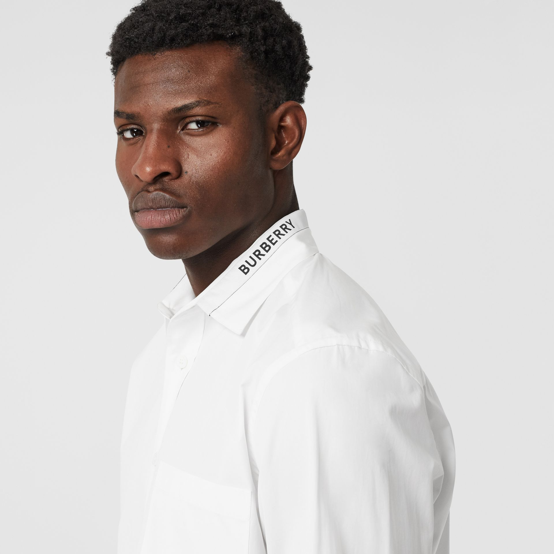 Logo Detail Cotton Poplin Shirt in White - Men | Burberry - gallery image 1