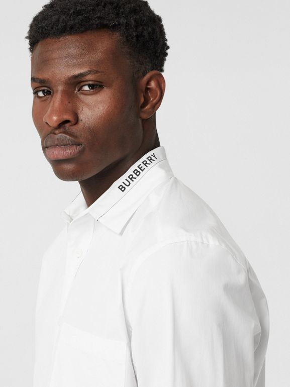 Logo Detail Cotton Poplin Shirt in White - Men | Burberry - cell image 1
