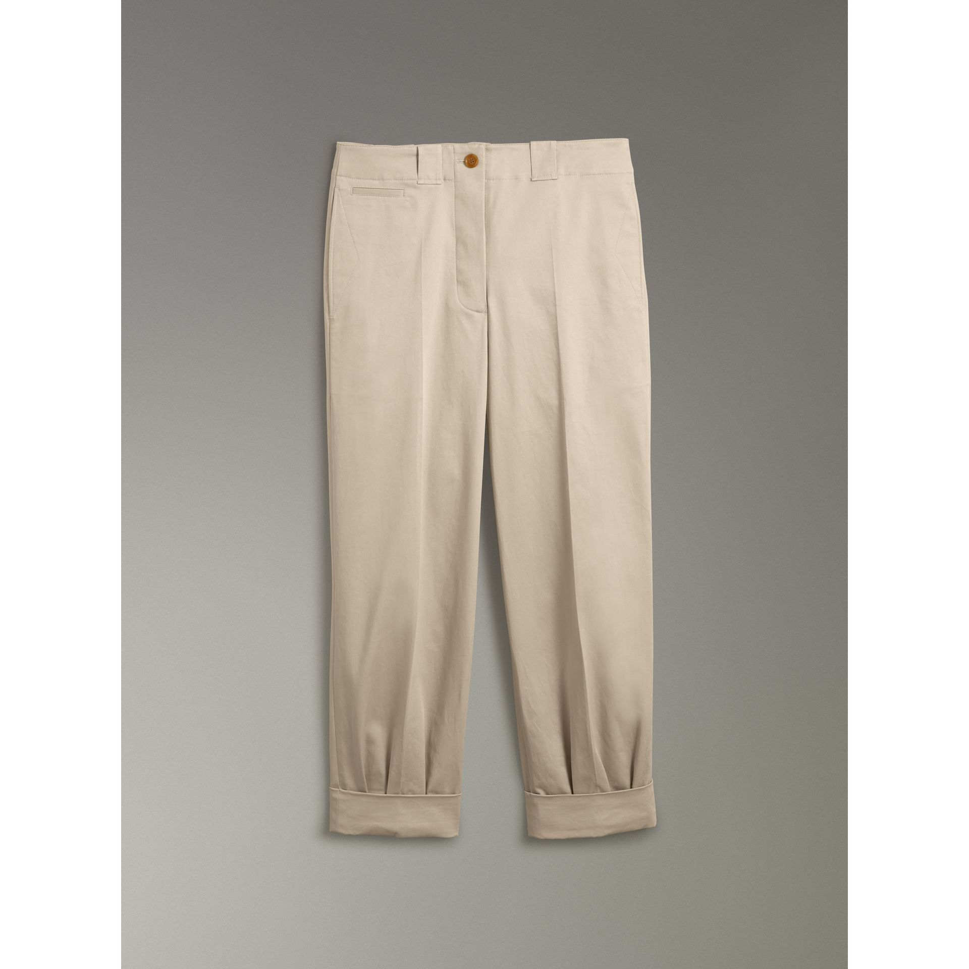Stretch Cotton Cropped Trousers in Stone - Women | Burberry - gallery image 3