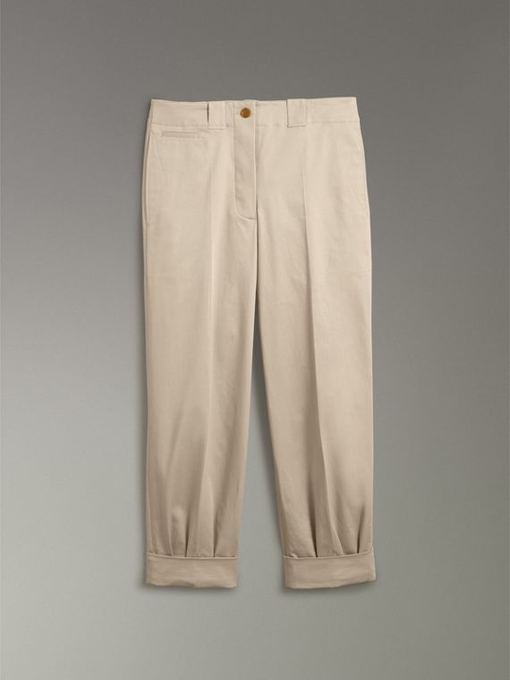 Stretch Cotton Cropped Trousers in Stone - Women | Burberry Australia - cell image 3
