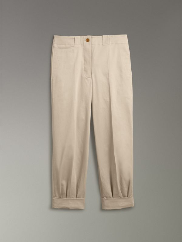 Stretch Cotton Cropped Trousers in Stone - Women | Burberry - cell image 3