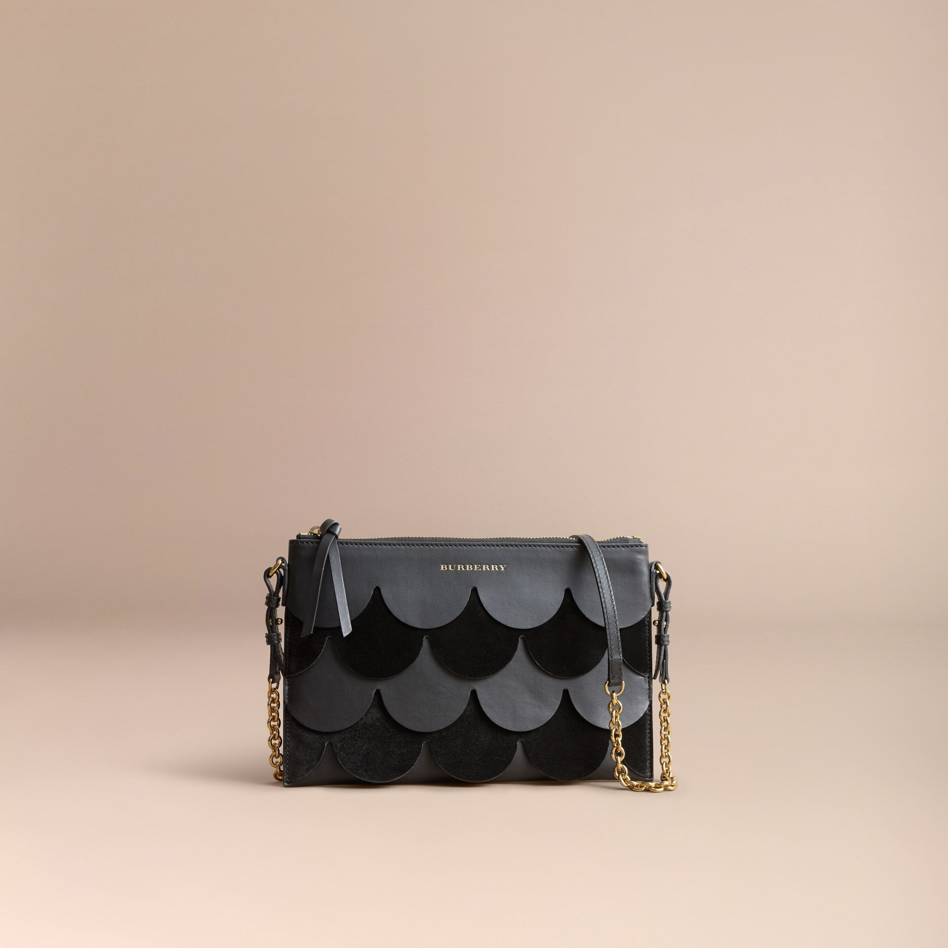 Two-tone Scalloped Leather and Suede Clutch Bag in Black - Women | Burberry - gallery image 8