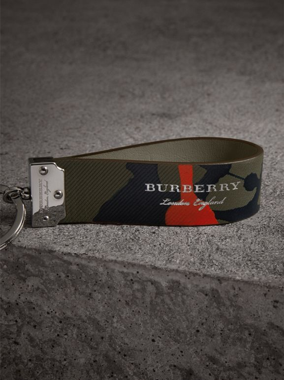 Splash Trench Leather Key Ring in Slate Green/splash - Men | Burberry - cell image 1
