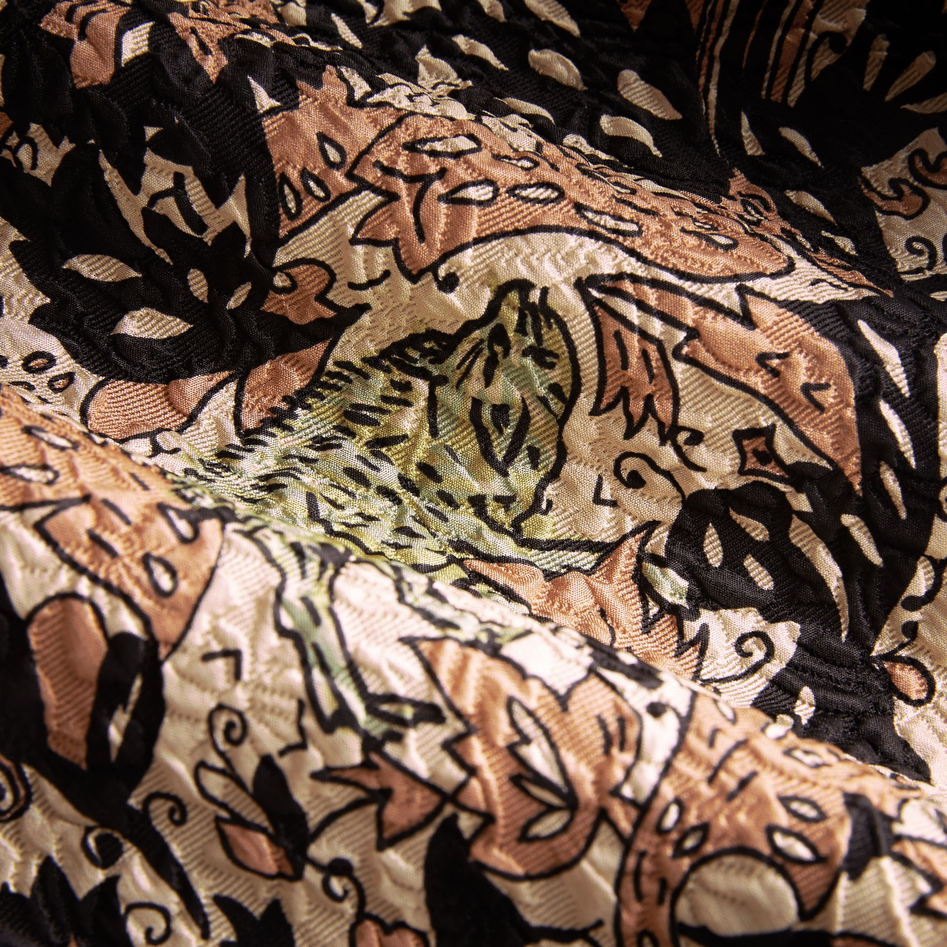 Beasts Print Technical Silk Voluminous Skirt in Antique Taupe Pink - Women | Burberry United Kingdom - gallery image 2