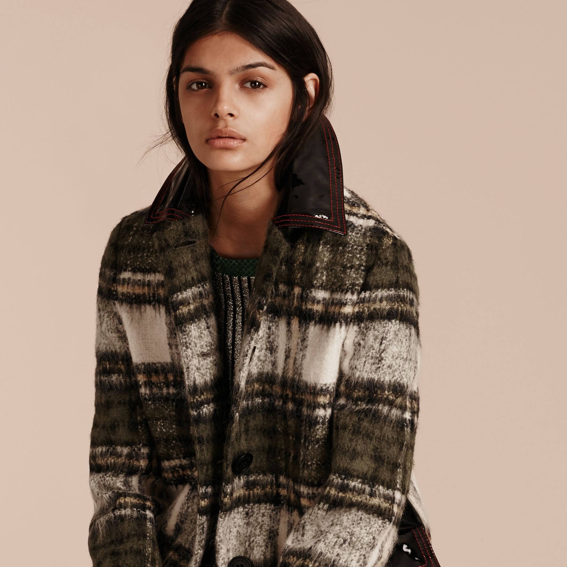 Forest green Brushed Tartan Wool Mohair Coat - gallery image 5