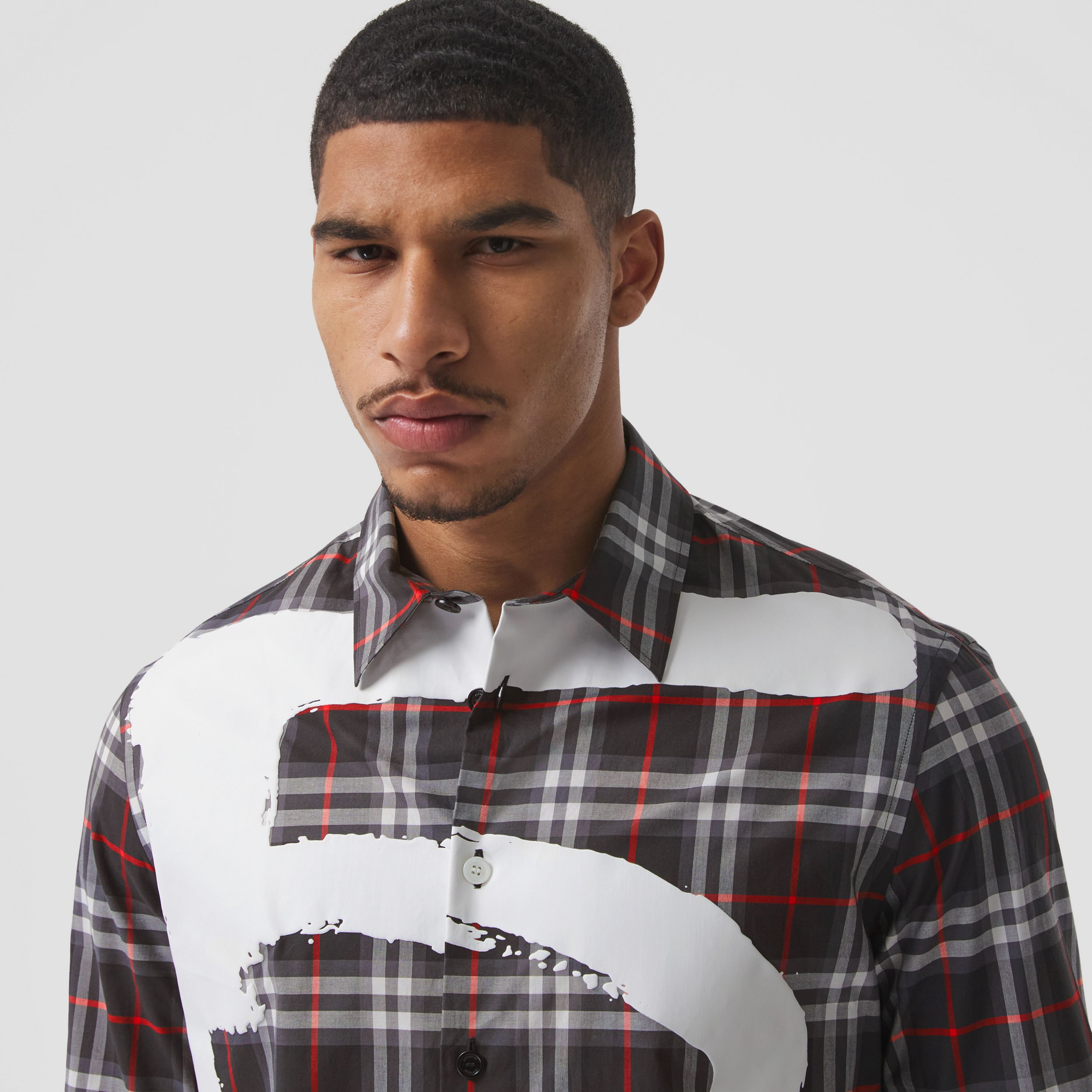 Love Print Vintage Check Cotton Shirt in Black - Men | Burberry - 2