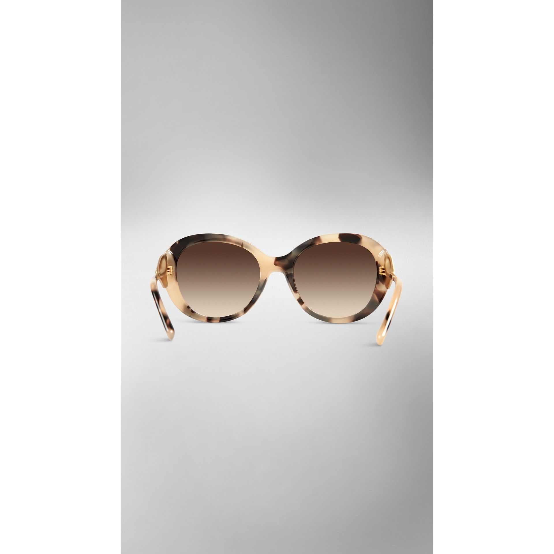 Gabardine Collection Oversize Round Frame Sunglasses in Mid Tone Horn - gallery image 3