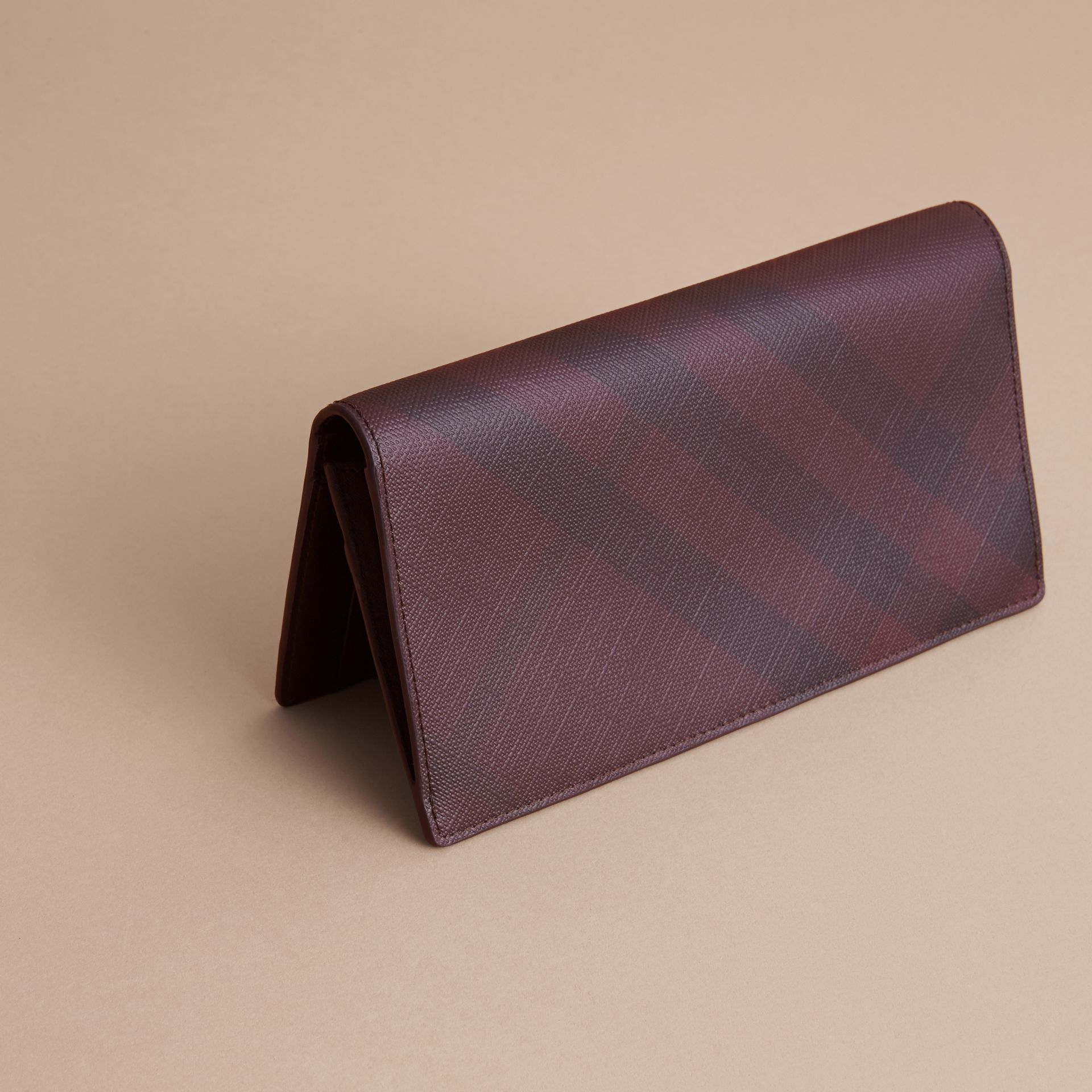 London Check and Leather Continental Wallet in Deep Claret - Men | Burberry Canada - gallery image 4