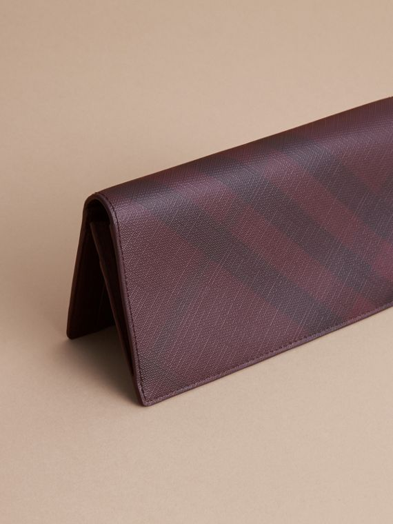 London Check and Leather Continental Wallet in Deep Claret - Men | Burberry - cell image 3