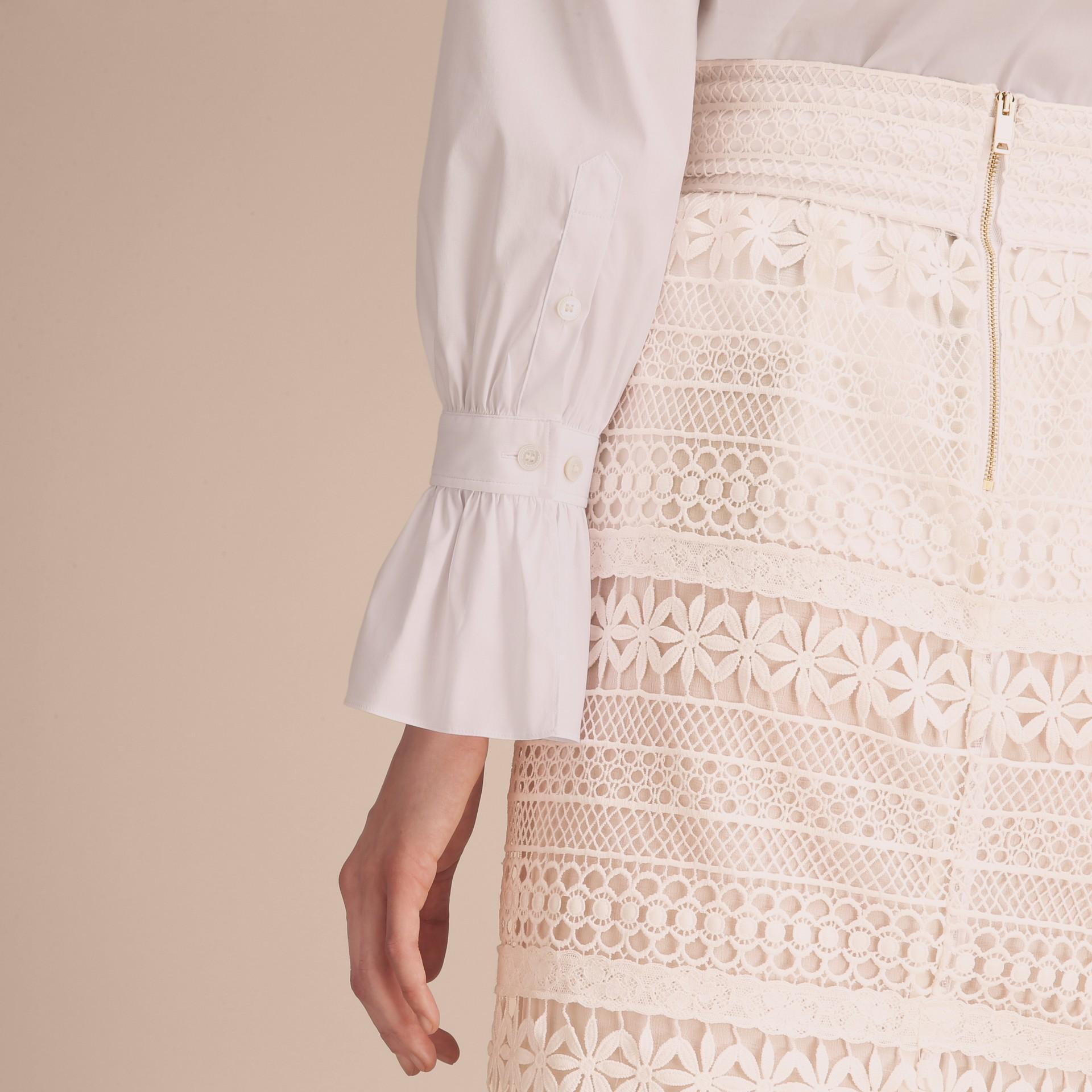 White Ruffle Detail Stretch Cotton Poplin Shirt - gallery image 6
