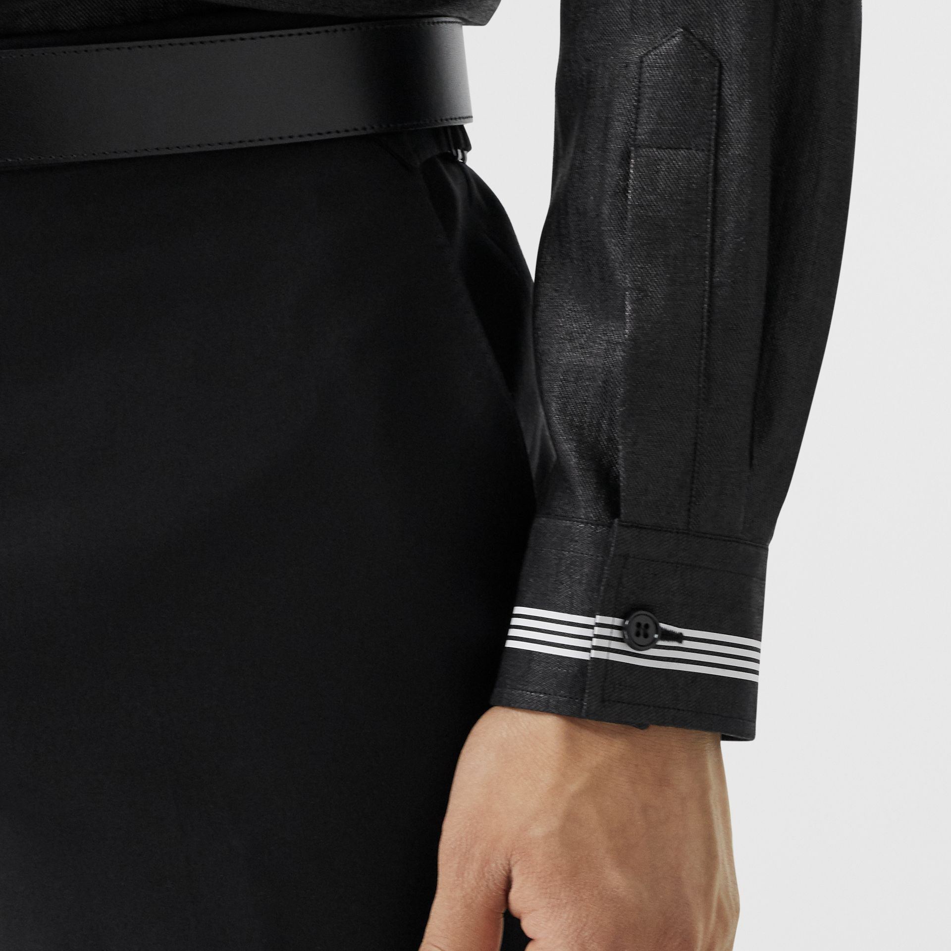 Logo Print Linen Blend Shirt in Black | Burberry - gallery image 4