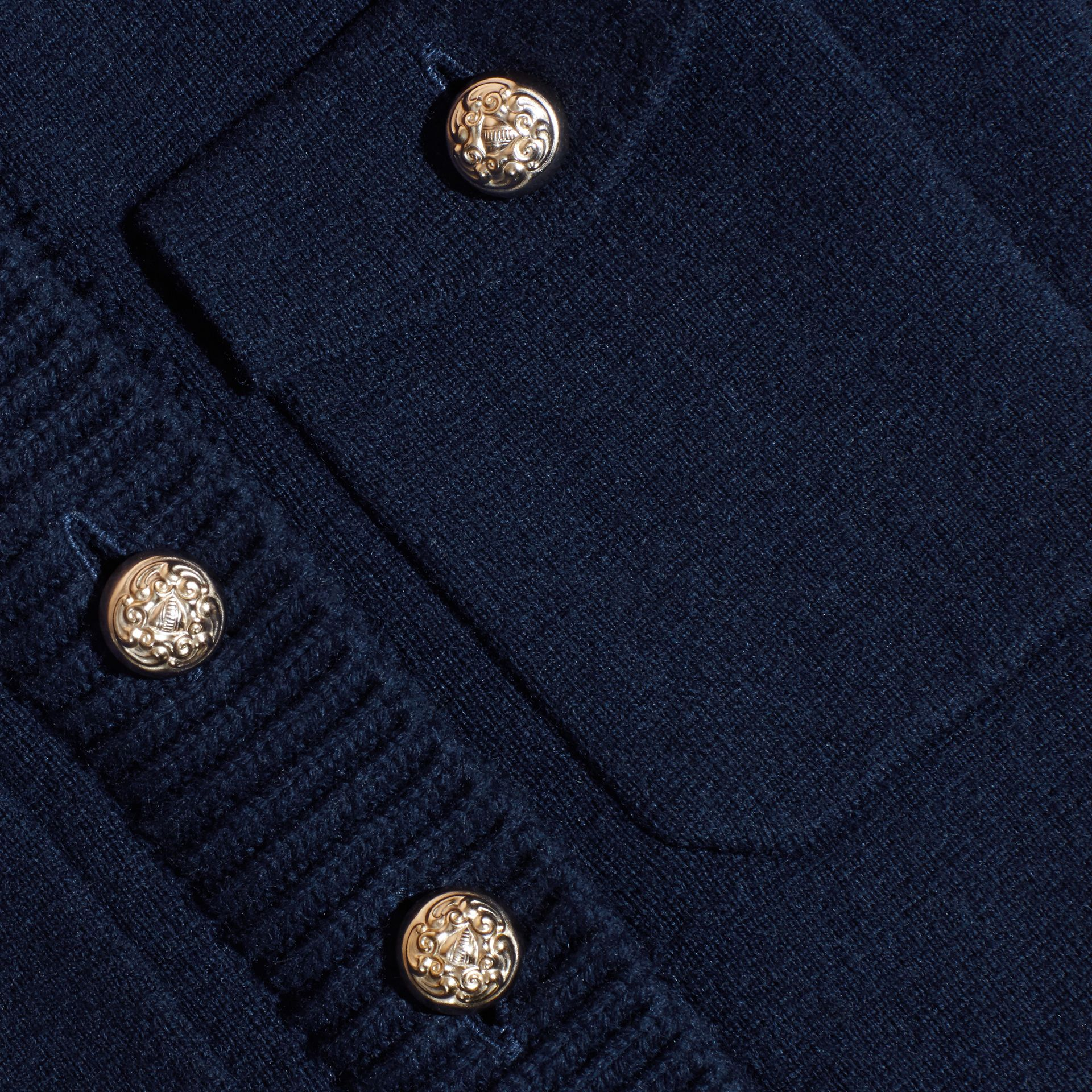 Navy Wool Cashmere Military Knitted Jacket - gallery image 2