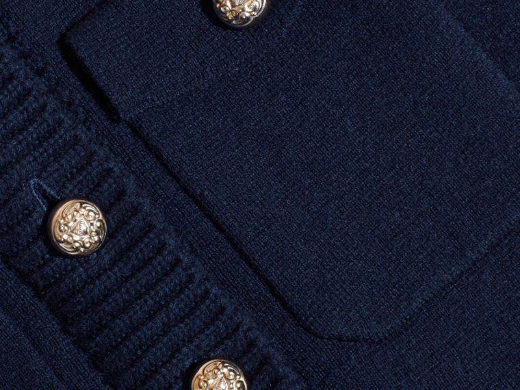 Navy Wool Cashmere Military Knitted Jacket - cell image 1