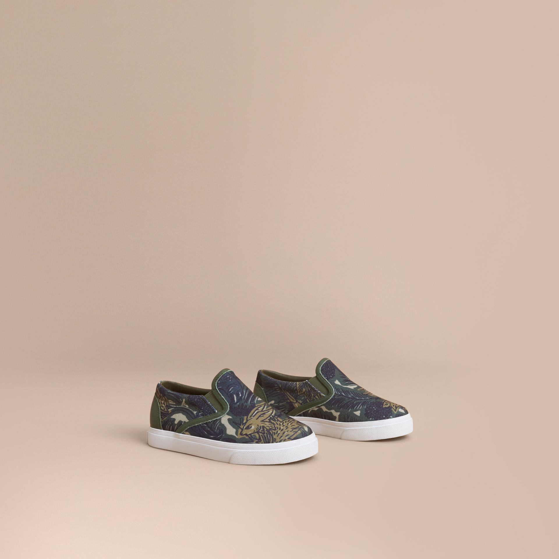 Beasts Print Cotton and Leather Slip-on Trainers in Clay Green | Burberry - gallery image 1