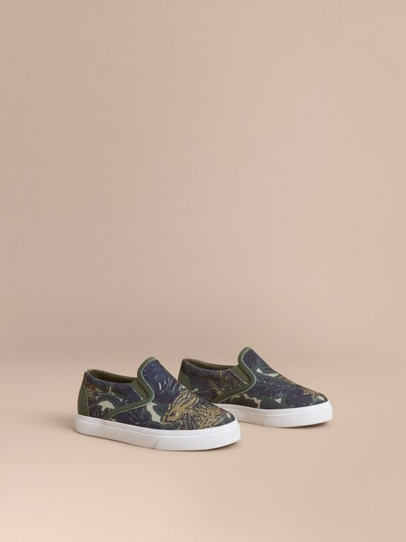Beasts Print Cotton and Leather Slip-on Trainers | Burberry Singapore