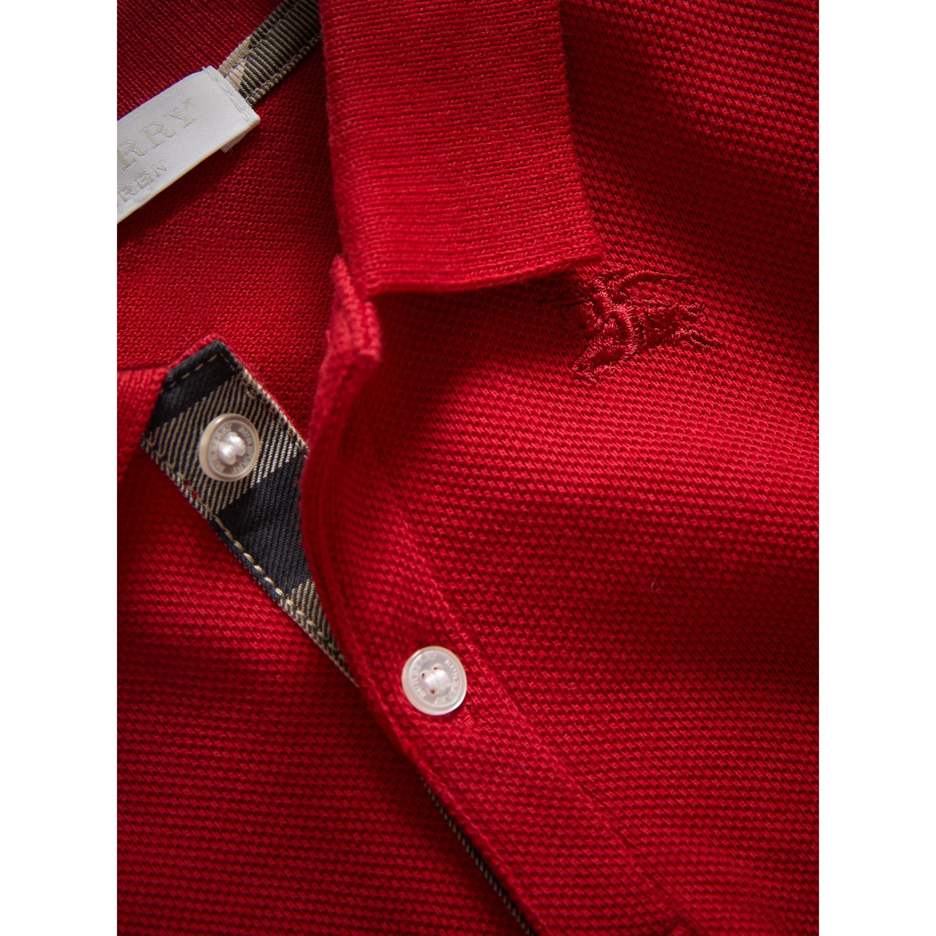 Cotton Piqué Polo Shirt in Military Red | Burberry - gallery image 1