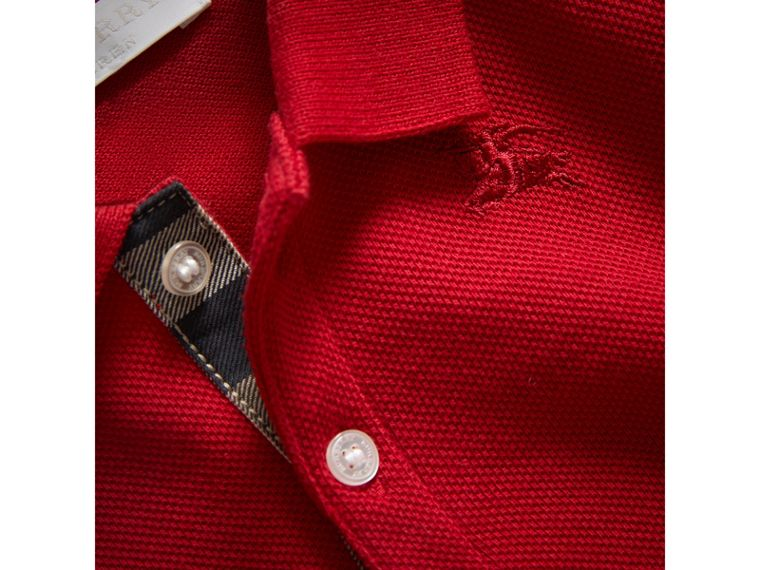 Cotton Piqué Polo Shirt in Military Red | Burberry - cell image 1
