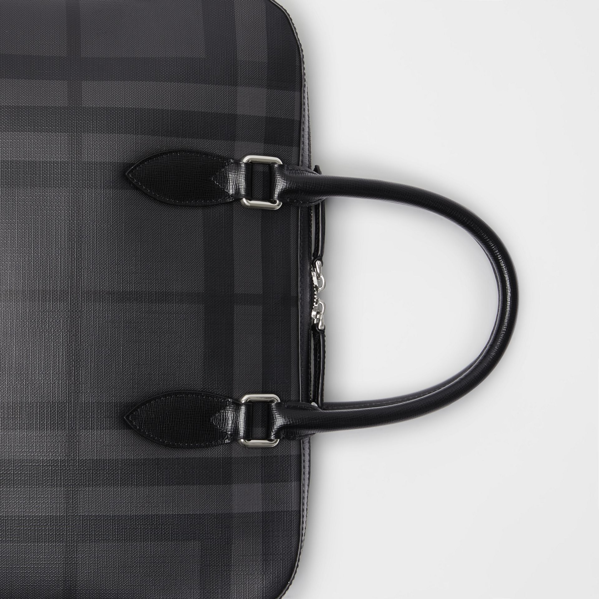 Medium Leather Trim London Check Briefcase in Charcoal/black - Men | Burberry Australia - gallery image 1