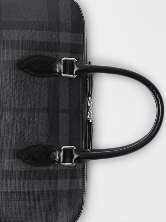 Medium Leather Trim London Check Briefcase in Charcoal/black - Men | Burberry Australia - cell image 1