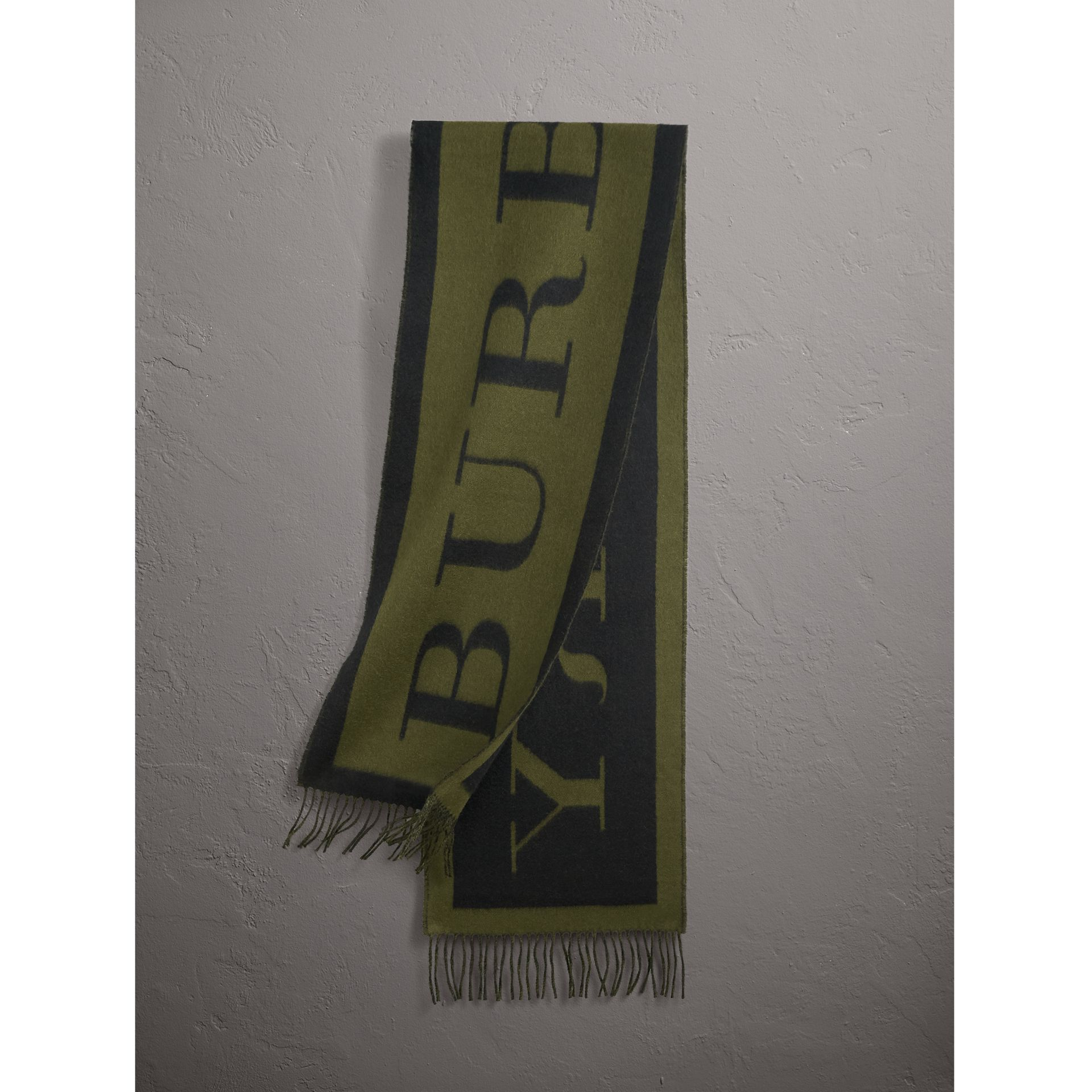 Emblem Print Cashmere Scarf in Olive | Burberry - gallery image 1