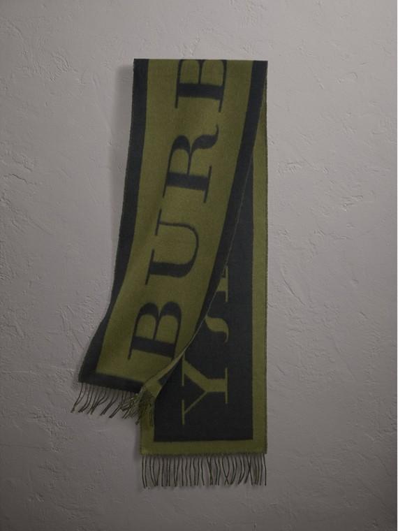 Écharpe en cachemire avec emblème Burberry (Olive)