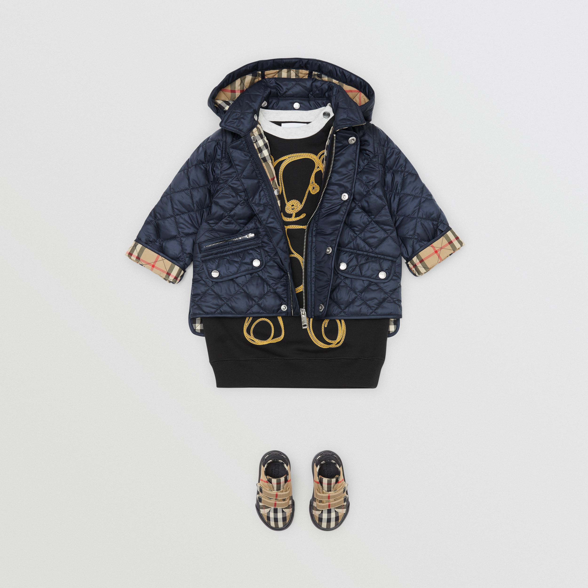 Detachable Hood Diamond Quilted Jacket in Navy - Children | Burberry - 3