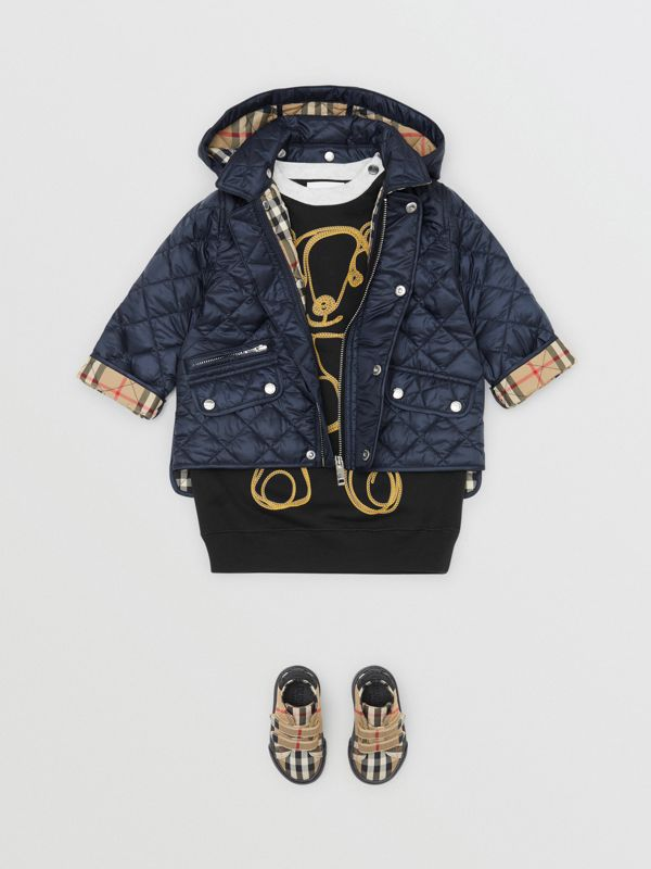 Detachable Hood Diamond Quilted Jacket in Navy - Children | Burberry - cell image 2