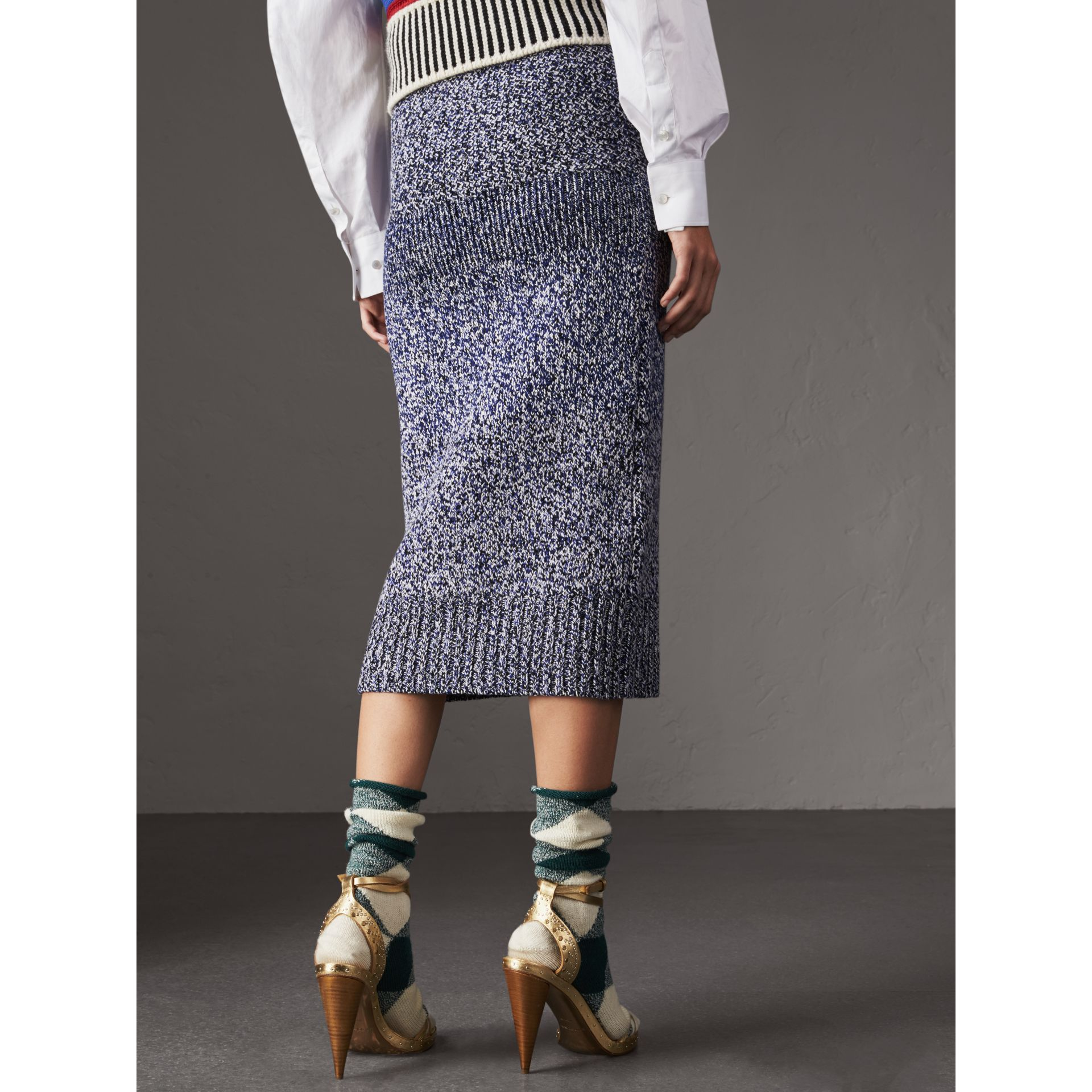 Cashmere Cotton Wool Blend Mouliné Skirt in Bright Navy/black - Women | Burberry - gallery image 3