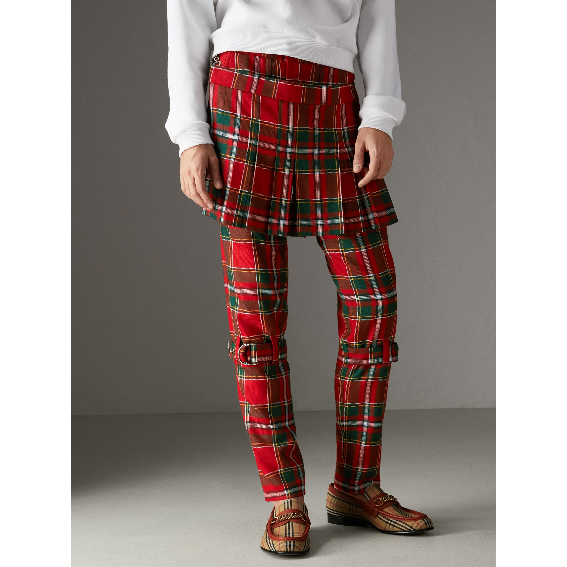 Modern Stewart Royal Tartan Punk Trousers in Bright Red | Burberry Australia - gallery image 5