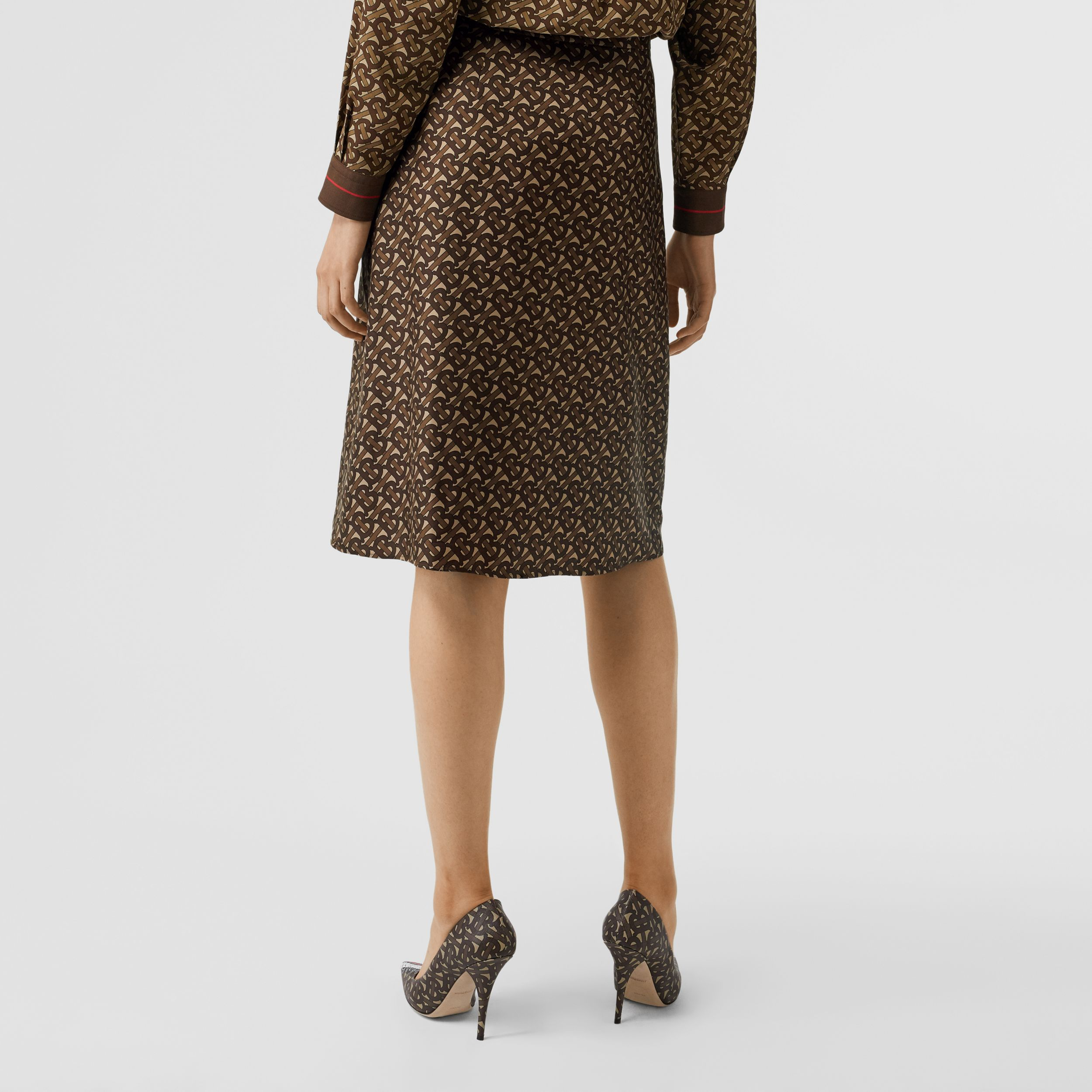 Monogram Stripe Print Silk Skirt in Bridle Brown - Women | Burberry - 3