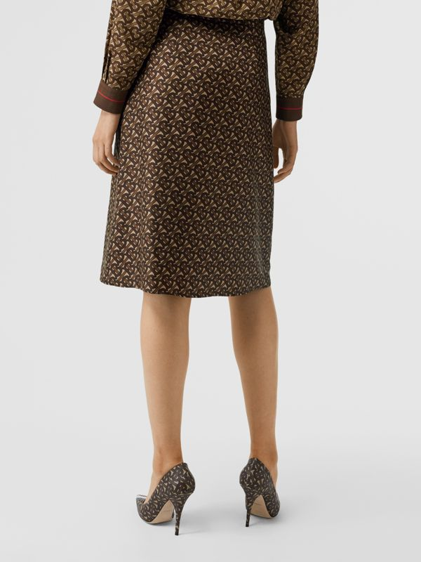 Monogram Stripe Print Silk Skirt in Bridle Brown - Women | Burberry United Kingdom - cell image 2