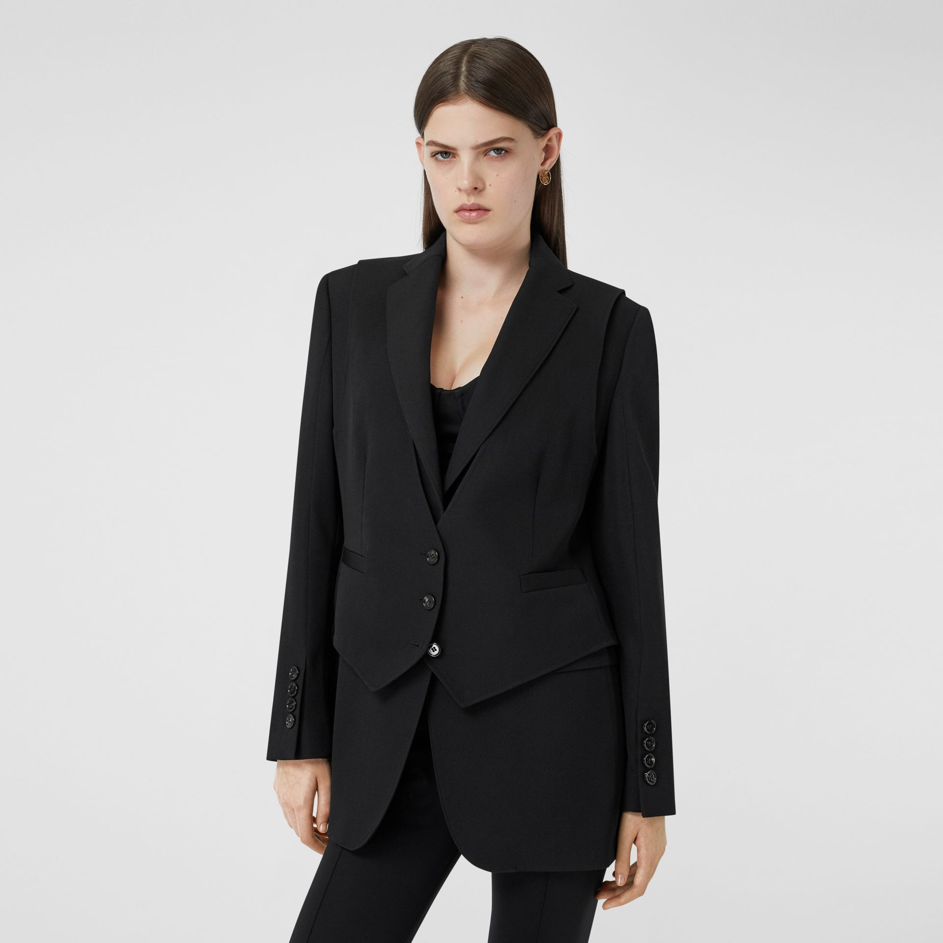 Waistcoat Detail Wool Tailored Jacket in Black - Women | Burberry - gallery image 5