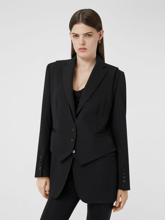 Waistcoat Detail Wool Tailored Jacket in Black